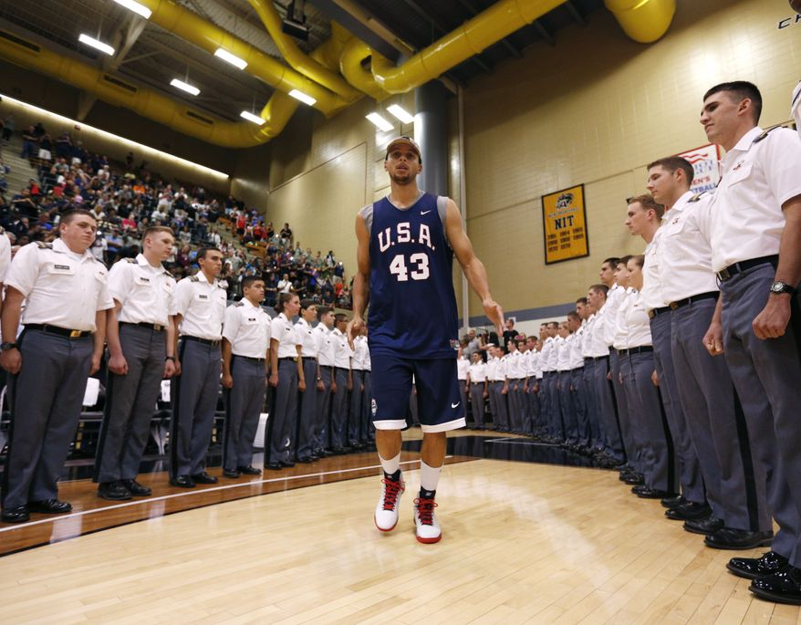 United States men's natioinal basketball team's Stephen Curry, of the Golden State Warriors, is introduced during basketball practice at Christl Arena at the U.S. Military Academy on Monday, Aug. 18, 2014, in West Point, N.Y. (AP Photo/Mike Groll)