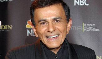 "FILE - In this Oct. 27, 2003, file photo, Casey Kasem poses for photographers after receiving the Radio Icon award during The 2003 Radio Music Awards at the Aladdin Resort and Casino in Las Vegas. A spokeswoman for the funeral service agency in the Norwegian capital says the wife of U.S. radio personality Kasem has cited her Norwegian heritage as a reason for burying her late husband in Oslo. Kasem, the host of ""American Top 40,"" died June 15, 2014, in Washington at age 82. His death followed a lengthy battle over his care between wife Jean Kasem and his three adult children from his first marriage. (AP Photo/Eric Jamison, File)"