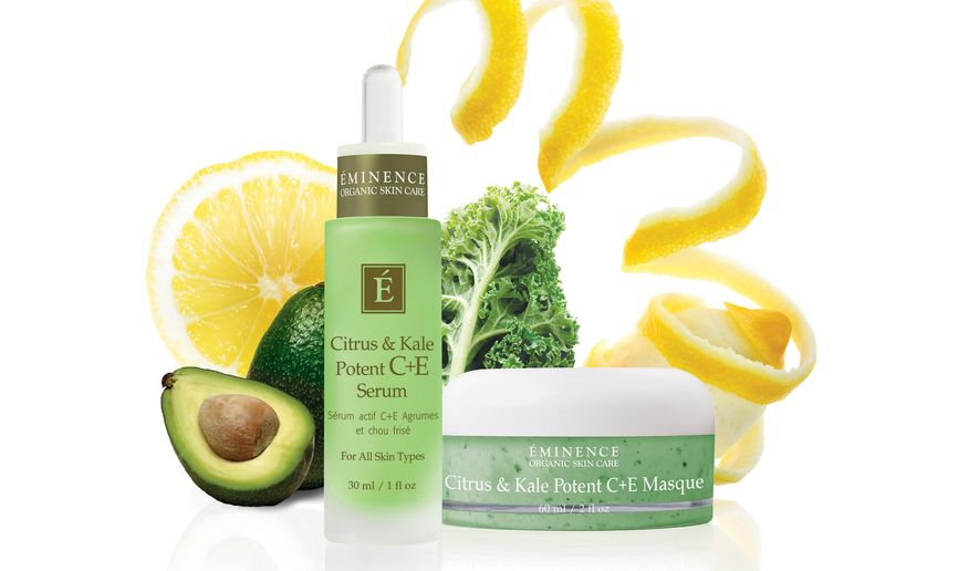 This product image released by Eminence Organic shows Citrus & Kale Potent C+E Serum, left, and Citrus & Kale Potent C+E Masque made with kale. With a boost in popularity as a food and juic, kale has made its way into the beauty industry. (AP Photo/ Eminence Organic)