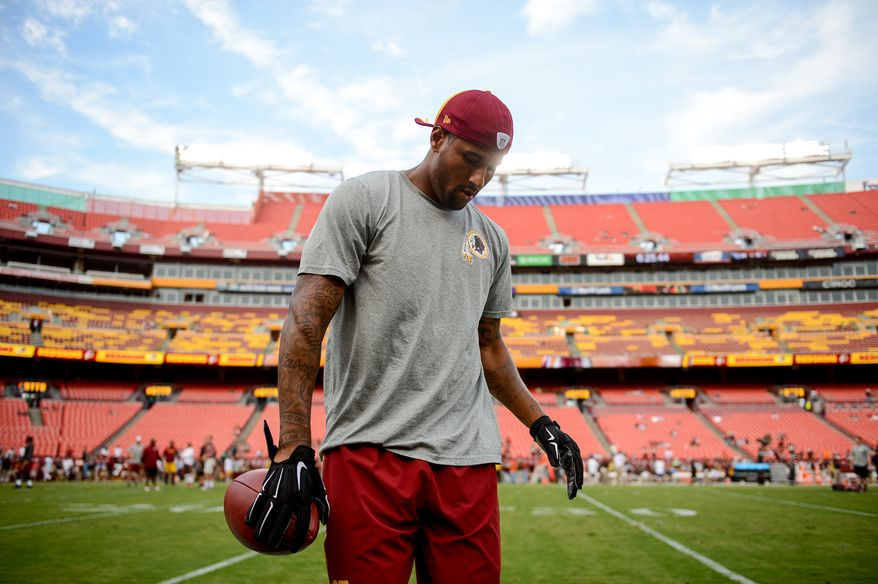 Washington Redskins wide receiver Cody Hoffman (87) warms up before the Washington Redskins play the Cleveland Browns in NFL preseason football at FedExField, Landover, Md., Monday, August 18, 2014. (Andrew Harnik/The Washington Times)
