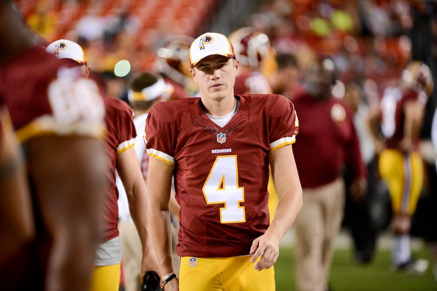 Washington Redskins kicker Zach Hocker (4) on the sideline as the Washington Redskins play the Cleveland Browns in NFL preseason football at FedExField, Landover, Md., Monday, August 18, 2014. (Andrew Harnik/The Washington Times)