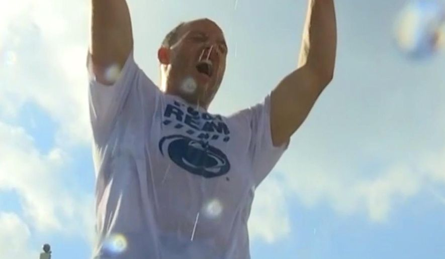 In this framegrab from video provided by Titansonline.com, former NFL linebacker Tim Shaw pours a bucket of ice water on his head as part of the Ice Bucket Challenge to raise money and awareness to battle ALS. In the video posted Tuesday, Aug. 19, 2014, on the Tennessee Titans' website, the 30-year-old Shaw reveals he was recently diagnosed with ALS. (AP Photo/Titansonline.com)