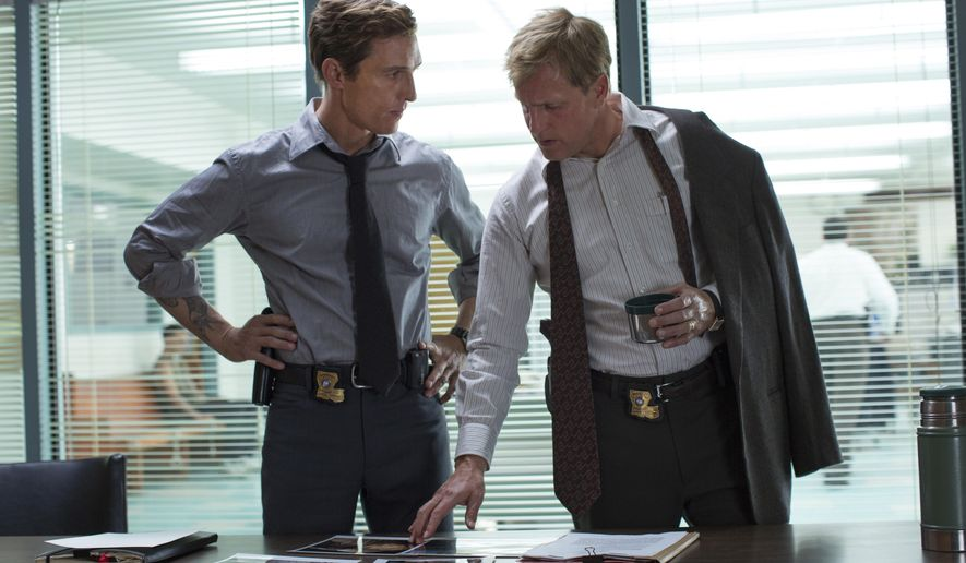 """This image released by HBO shows Matthew McConaughey, left, and Woody Harrelson from the HBO series """"True Detective."""" Both Harrelson and McConaughey were nominated for Emmy Awards for best actor in a drama series for their roles in the series. The 66th Primetime Emmy Awards will be presented Aug. 25 at the Nokia Theatre in Los Angeles.  (AP Photo/HBO, Michele K. Short)"""