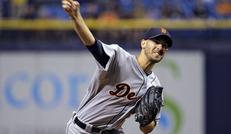 Detroit Tigers starting pitcher Rick Porcello delivers to the Tampa Bay Rays during the first inning of a baseball game Wednesday, Aug. 20, 2014, in St. Petersburg, Fla. (AP Photo/Chris O'Meara)