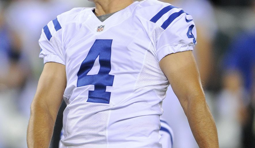 FILE - In this Aug. 7, 2014, file photo, Indianapolis Colts kicker Adam Vinatieri (4) reacts after missing a field goal against the New York Jets in the second quarter of a preseason NFL football game in East Rutherford, N.J. Vinatieri is the NFL's oldest active player.  (AP Photo/Bill Kostroun)