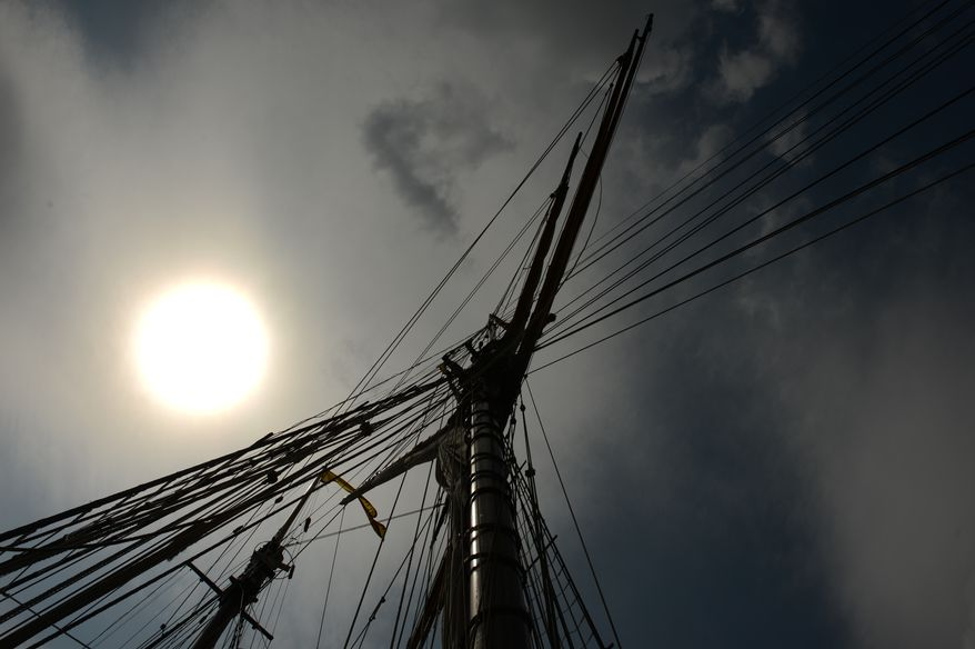 The Pride of Baltimore II, a reproduction privateer from the War of 1812 era, is visiting the Washington Navy Yard next to the destroyer USS Barry, the Washington Navy Yard's museum display ship and open to the public until Aug. 25, Washington, D.C., Wednesday, August 20, 2014. (Andrew Harnik/The Washington Times)