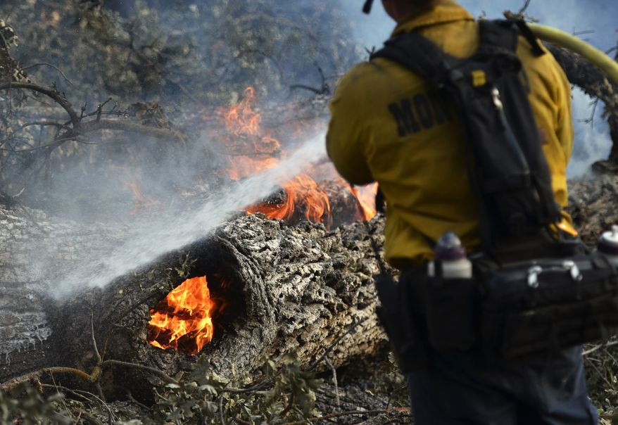 Firefighters extinguish a fire burning in a downed tree on the approach to Taylor Mountain a day after the Junction fire swept across Highway 41 in Oakhurst, Calif. on Tuesday, Aug. 19, 2014. (AP Photo/The Fresno Bee, Eric Paul Zamora)
