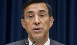 FILE - In this Sept. 20, 2012, file photo, House Oversight Committee Chairman Darrell Issa, R-Calif., on Capitol Hill in Washington. A federal judge has ordered the Justice Department to provide Congress with a list of documents that are at the center of a long-running battle over a failed law enforcement program called Operation Fast and Furious. In a court proceeding Wednesday, U.S. District Judge Amy Berman Jackson set an Oct. 1 deadline for producing the list to the House Oversight and Government Reform Committee. (AP Photo/J. Scott Applewhite, File)