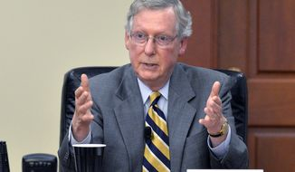 ** FILE ** Kentucky Republican Senator Mitch McConnell answers a question from the board of Kentucky Farm Bureau insurance during a candidates forum at the Kentucky Farm Bureau Insurance headquarters, Wednesday, Aug. 20, 2014, in Louisville, Ky. (AP Photo/Timothy D. Easley)