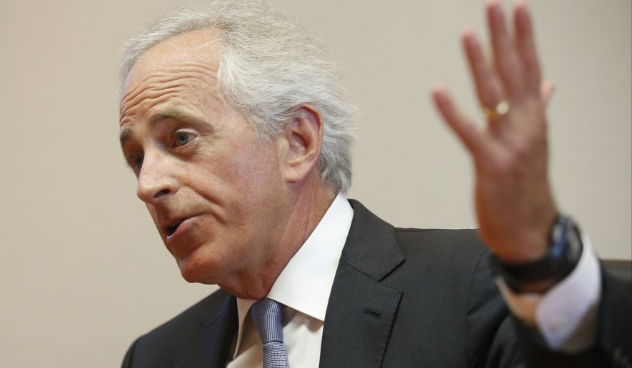 U.S. Sen. Bob Corker speaks to the Chattanooga Times Free Press staff,  Wednesday, Aug. 20, 2014, in Chattanooga, Tenn. (AP Photo/Chattanooga Times Free Press, Doug Strickland) ** FILE **