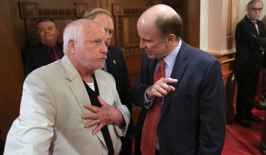 Actor Richard Dreyfuss, left, at the state Senate in Sacramento, Calif, where he was honored for his work promoting civics education in public schools through the Dreyfuss Initiative. (AP Photo/Rich Pedroncelli)