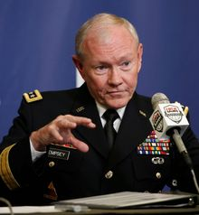 Joint Chiefs Chairman Gen. Martin E. Dempsey said the Islamic State militants can be contained, but only temporarily. He said the problem must be addressed diplomatically, politically and militarily by the U.S. and regional partners. (Associated Press)