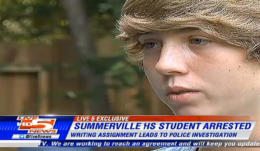 Alex Stone, a 16-year-old student at Summerville High School, said he was suspended from school and detained by police because of a school assignment in which he wrote he was going to shoot a dinosaur. (WCSC-TV)
