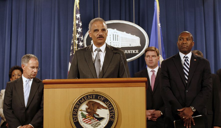 Attorney General Eric Holder, center,  joined by Associate Attorney General Tony West, right, U.S. Attorney for the District of New Jersey Paul Fishman, left, and Kentucky Attorney General Jack Conway, second from right, announces a settlement with Bank of America, Thursday, Aug. 21, 2014, at the Justice Department in Washington. (AP Photo/Lauren Victoria Burke) ** FILE **