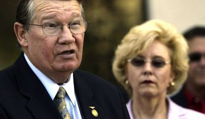 "Former California Rep. Randy ""Duke"" Cunningham, who was convicted in 2005 of accepting $2.4 million in bribes, served nearly seven years in prison before his release in 2013. (Associated Press)"