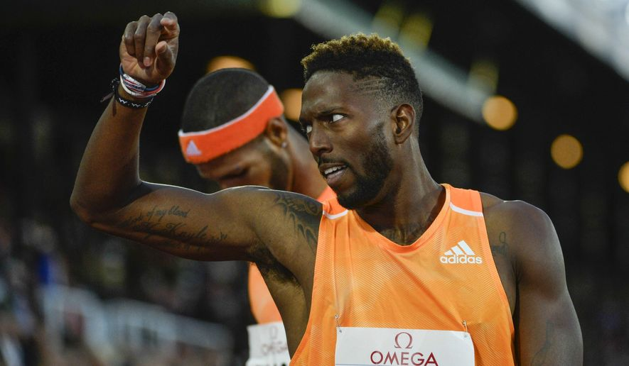 Michael Tinsley of the U.S. reacts after winning the men's 400m hurdles during the IAAF Diamond League DN Galan athletics meeting at the Stockholm Olympic Stadium on August 21, 2014. (AP Photo/TT News Agency, Henrik Montgomery) SWEDEN OUT
