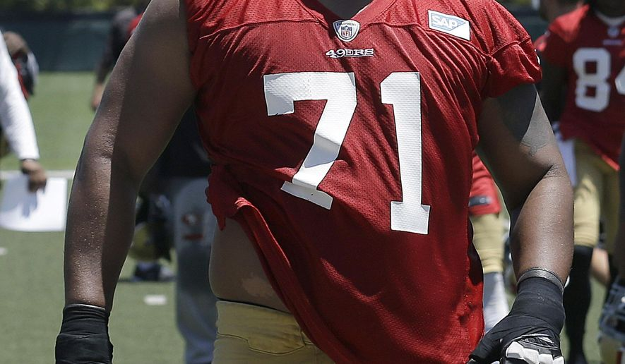 FILE - In this June 19, 2014, file photo, San Francisco 49ers offensive tackle Jonathan Martin walks off the field during NFL football minicamp in Santa Clara, Calif. Martin is concerning himself with all that he can control to earn a spot on the 53-man roster when final cuts are complete Aug. 30. (AP Photo/Jeff Chiu, File)