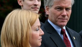 Former Virginia Gov. Bob McDonnell, right, his daughter, Cailin Young, left, and her husband, Chris Young, rear, arrive at the federal courthouse Friday, Aug. 22, 2014, in Richmond, Va., for McDonnell's corruption trial. The former governor and his wife are charged with accepting more than $165,000 in gifts and loans from former Star Scientific Inc. CEO Jonnie Williams in exchange for promoting his company's dietary supplements.  (AP Photo/Richmond Times-Dispatch, Bob Brown)