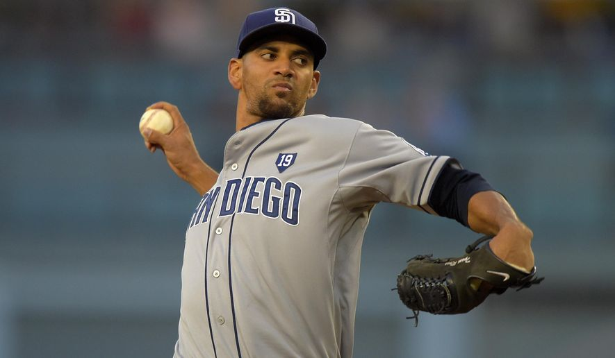 San Diego Padres starting pitcher Tyson Ross throws to the plate during the first inning of a baseball game against the Los Angeles Dodgers, Thursday, Aug. 21, 2014, in Los Angeles. (AP Photo/Mark J. Terrill)