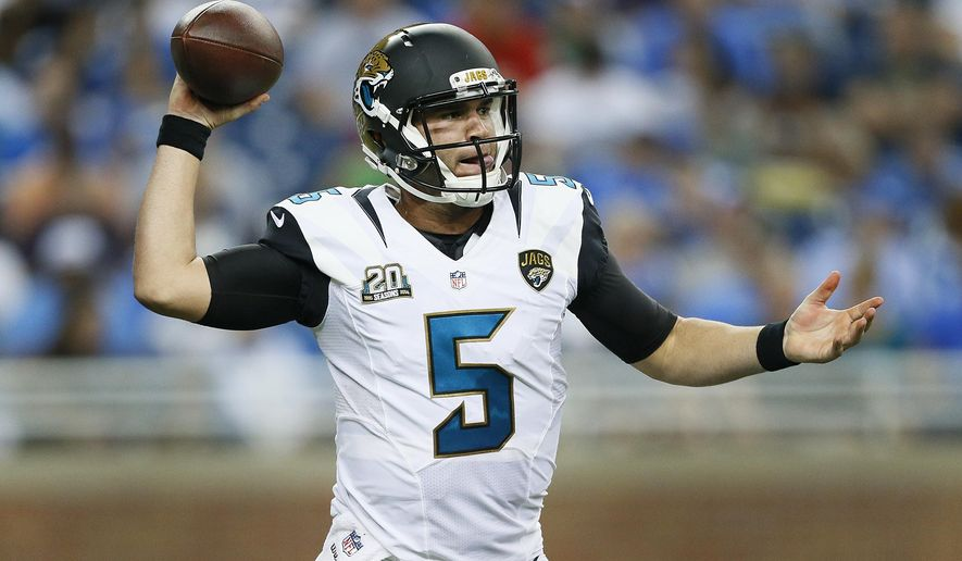 Jacksonville Jaguars quarterback Blake Bortles (5) throws against the Detroit Lions in the second half of a preseason NFL football game at Ford Field in Detroit, Friday, Aug. 22, 2014. (AP Photo/Rick Osentoski)
