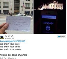 A picture of an unidentified man on Michigan Avenue holds up a message in support of the Islamic State group. The image was originally posted to Twitter June 20, 2014 and shared multiple times since then. (Image: Twitter, the Islamic State group)