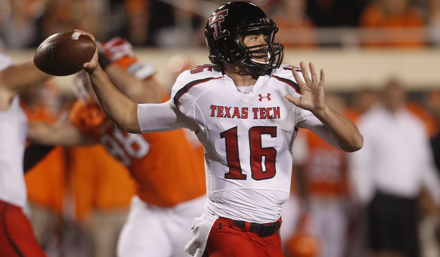 Texas Tech Michael Brewer passes against Oklahoma State during an NCAA college football game in Stillwater, Okla., Saturday, Nov. 17, 2012. (AP Photo/Sue Ogrocki)