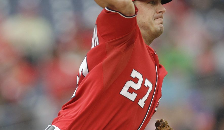 Washington Nationals pitcher Jordan Zimmermann delivers during the first inning of a baseball game against the San Francisco Giants, Saturday, Aug. 23, 2014, in Washington. (AP Photo/Luis M. Alvarez)