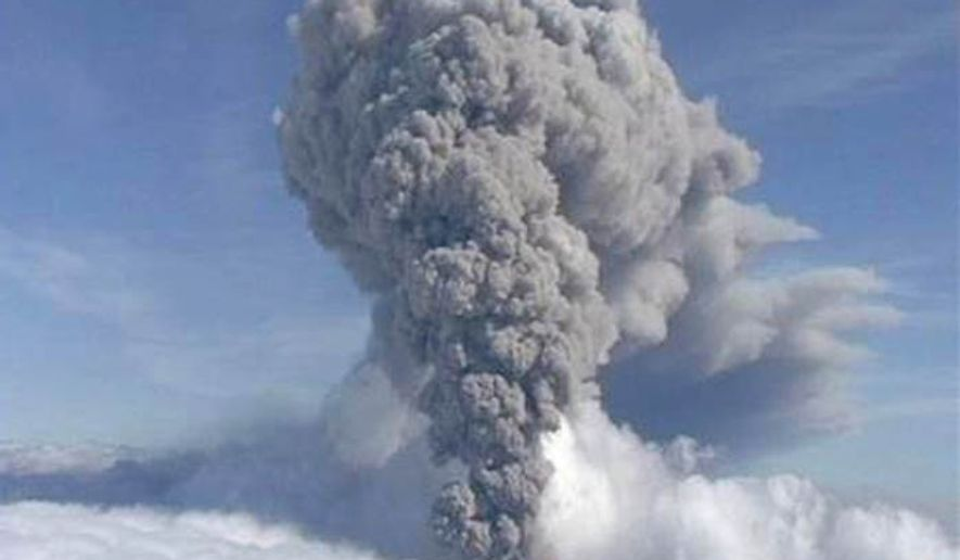 ** FILE ** A column of ash rises from Iceland's Eyjafjallajokul volcano, May 8, 2010. (AP Photo/ APTN) **