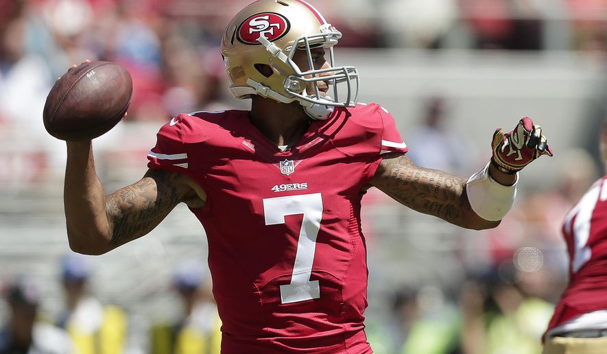 San Francisco 49ers quarterback Colin Kaepernick passes against the San Diego Chargers during the first quarter of an NFL preseason football game in Santa Clara, Calif., Sunday, Aug. 24, 2014. (AP Photo/Marcio Jose Sanchez)