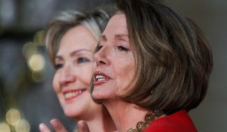 trailblazers: Prominent figures like House Minority Leader Nancy Pelosi and likely 2016 presidential candidate Hillary Rodham Clinton haven't led to more women running for office. (Associated Press)