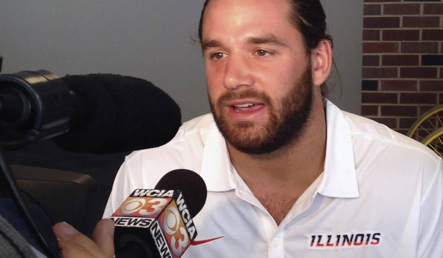 Illinois linebacker Mason Monheim talks to reporters at Memorial Stadium in Champaign, Ill., on Monday, Aug. 25, 2014. Monheim echoed his coaches, saying the Illini defense needs to start fast in its opener Saturday against Youngstown State. (AP Photo/David Mercer)