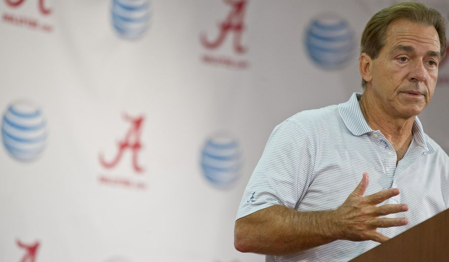 University of Alabama head coach Nick Saban speaks to the media during an NCAA college football press conference on Monday, Aug. 25, 2014, in Tuscaloosa, Ala.(AP Photo/Brynn Anderson)