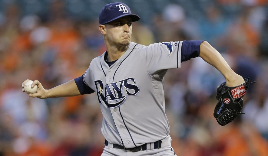 Tampa Bay Rays starting pitcher Jake Odorizzi throws to the Baltimore Orioles in the first inning of a baseball game, Monday, Aug. 25, 2014, in Baltimore. (AP Photo/Patrick Semansky)