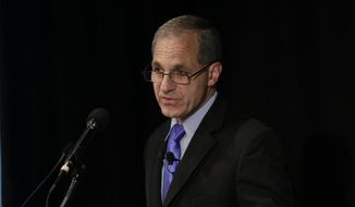 FILE - In this July 12, 2012, file photo, former FBI Director Louis Freeh speaks during a news conference in Philadelphia. Freeh has been hospitalized following a single-car crash in Vermont. State police say Freeh was airlifted to a New Hampshire hospital with serious injuries following the crash Monday, Aug. 25, 2014, in Barnard. (AP Photo/Matt Rourke, File)