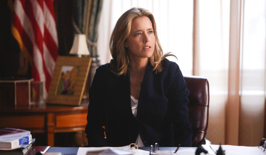 "This image released by CBS shows Tea Leoni as Elizabeth McCord, the shrewd, determined, newly appointed Secretary of State in ""Madam Secretary,"" premiering Sept. 21. (AP Photo/CBS, Craig Blankenhorn)"