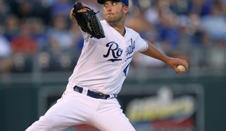 Kansas City Royals starting pitcher Danny Duffy throw in the first inning during a baseball game against the Minnesota Twins Tuesday, Aug. 26, 2014, in Kansas City, Mo.  (AP Photo/Ed Zurga)