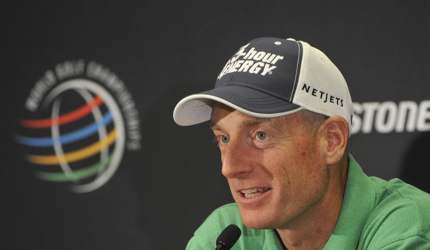 FILE - In this July, 29, 2014, file photo, Jim Furyk responds during an interview at the World Golf Championships Bridgestone Invitational in Akron, Ohio. Furyk is a pea shooter in an era of cannons. Still, he has managed to win 16 times, including a major. At 44, he is the highest-ranked American.  (AP Photo/Phil Long, File)