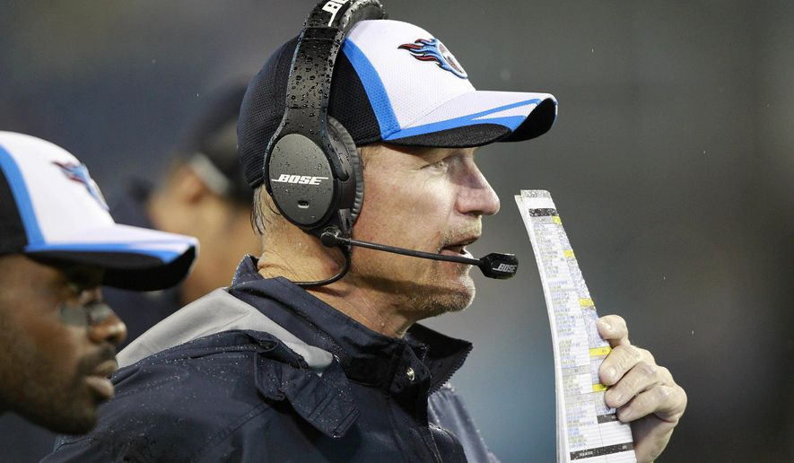 FILE - In this Aug. 9, 2014, file photo, Tennessee Titans head coach Ken Whisenhunt watches the action during his first game as the Titans' head coach against the Green Bay Packers in a preseason NFL football game in Nashville, Tenn. Whisenhunt has been a much needed breath of fresh air for the Titans, snapping them out of routines and holding them accountable for mistakes. (AP Photo/Wade Payne, File)