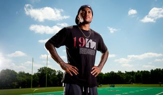 Washington Redskins wide receiver DeSean Jackson (11) poses for a portrait at Redskins Park, Ashburn, Va., Tuesday, August 26, 2014. (Andrew Harnik/The Washington Times)