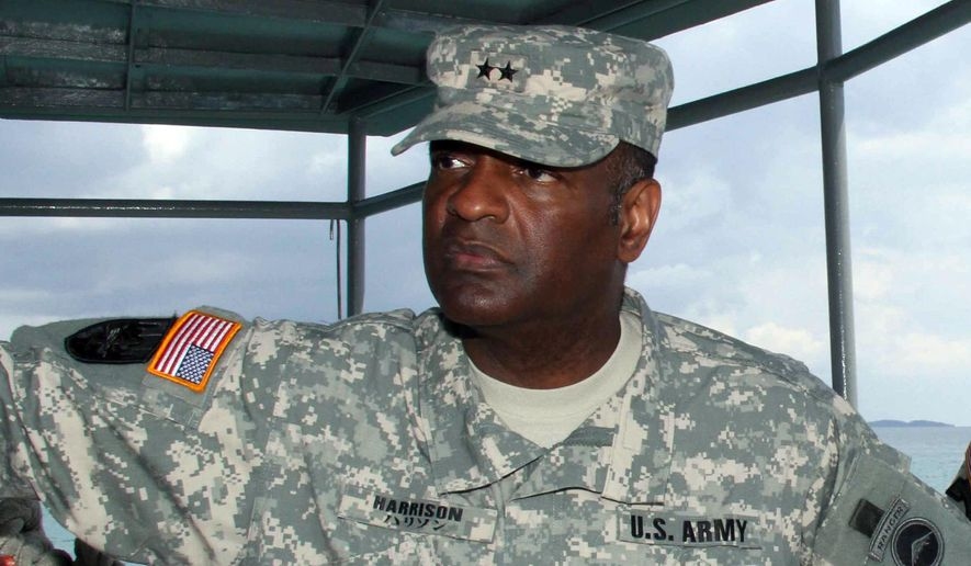 This undated image provided by the Army shows Maj. Gen. Michael T. Harrison Sr. Harrison, a two-star Army general faulted for failing to properly investigate sexual assault and other accusations against a colonel on his staff will be retired at one-star rank, the Army announced Wednesday. (AP Photo/U.S. Army, Chip Steitz)