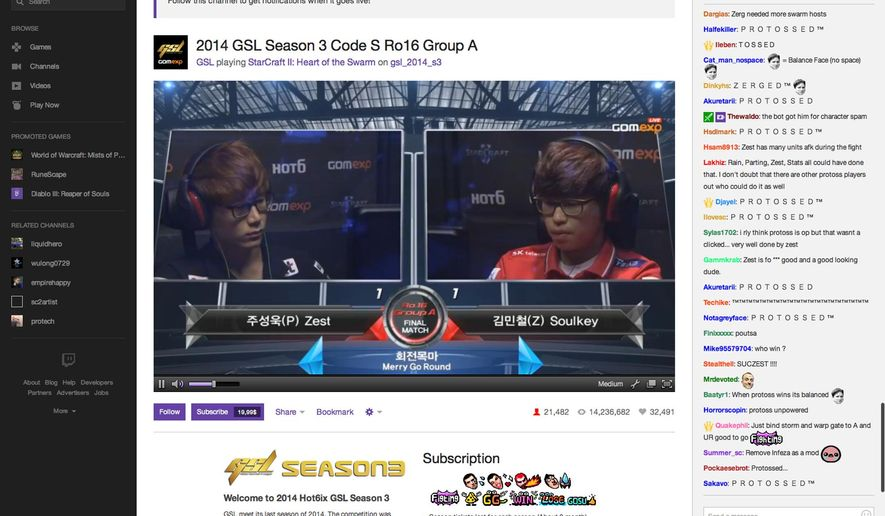 This frame grab taken from Twitch.tv shows two gamers competing and a streaming chat, at right, as visitors to the online network watch the two gamers go head-to-head. Twitch's 55 million monthly users viewed more than 15 billion minutes of content on the service in July 2014, making Twitch.tv one of the world's biggest sources of Internet traffic. (AP Photo/Twitch.tv)