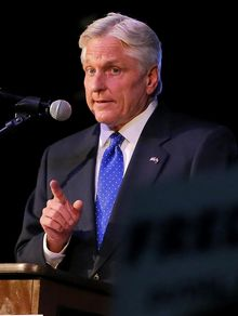 Democratic Arizona gubernatorial candidate Fred Duval speaks, Tuesday, Aug. 26, 2014, at a primary election party in Phoenix. (AP Photo/Matt York)