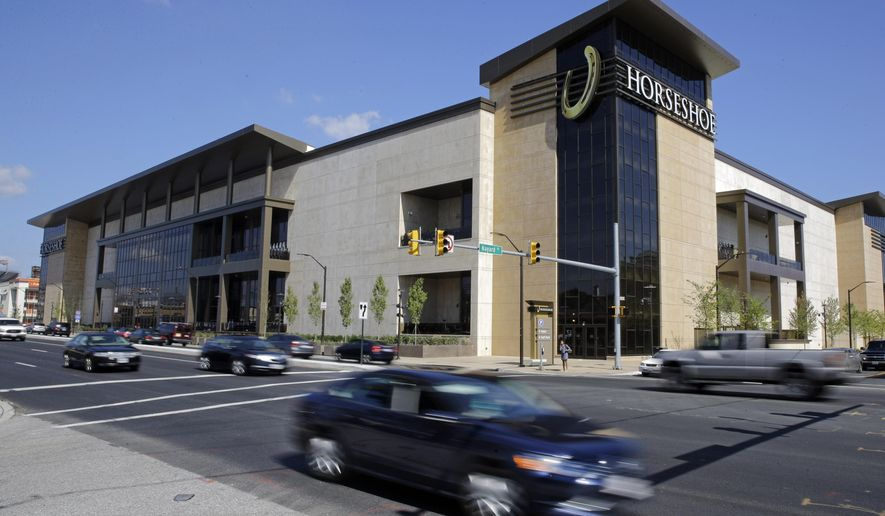 """This Aug. 25, 2014 picture shows the Horseshoe Casino in Baltimore. The casino opened its doors Tuesday, and it's the last of five to open in Maryland after lawmakers legalized gambling in the state. Baltimore Mayor Stephanie Rawlings-Blake called the casino a """"springboard for growth"""" for the city, adding that the casino will employ more than 2,400, more than half from Baltimore. (AP Photo/Patrick Semansky)"""