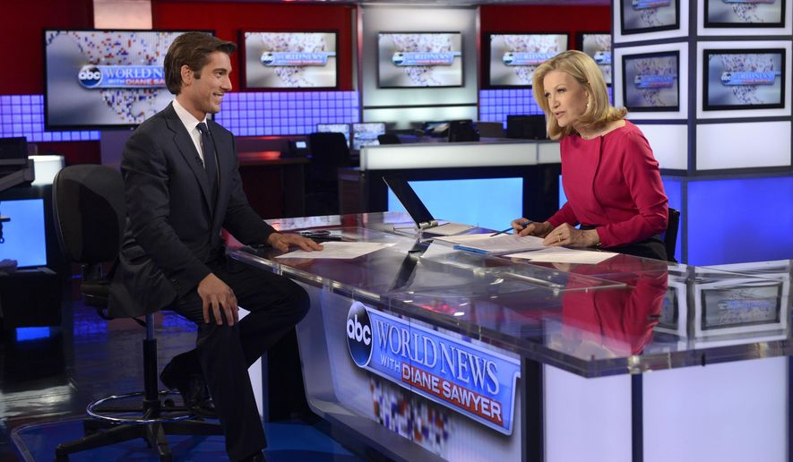 """In this June 25, 2014 photo provided by ABC, Diane Sawyer, right, speaks about her new role at ABC News, leading new programming and tackling big issues and interviews and that David Muir, left, will become Anchor and Managing Editor of """"World News"""" starting September 2. Sawyer signed off as anchor of ABC's """"World News"""" on Wednesday, Aug. 27, 2014, telling viewers that it has been wonderful to be the """"home port"""" of the network's news team each weeknight. She will be replaced next week by Muir. ( AP Photo/ABC, Ida Mae Astute)"""