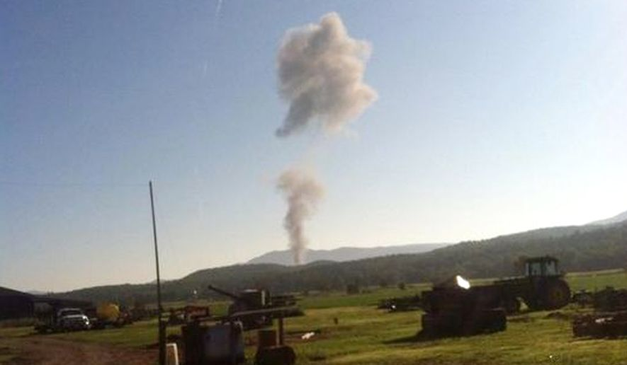 Smoke from an alleged military jet crash  near Deerfield, Virginia (Photo credit: Garrett Beck )