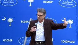 Texas Gov. Rick Perry speaks at a fundraiser for the South Carolina Republican Party on Wednesday, Aug. 27, 2014, in Columbia, S.C. Perry is telling the South Carolina GOP that it's important for Republicans to control Congress so they can solve the country's immigration problem and other national issues. (AP Photo/Jeffrey Collins)