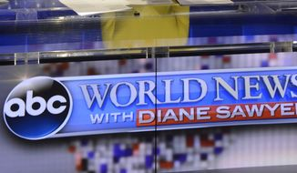"""In this Wed., Aug. 27, 2014 photo provided by ABC, Diane Sawyer signs off on her last broadcast as anchor of """"World News,"""" in New York. Sawyer told viewers that it has been wonderful to be the """"home port"""" of the network's news team each weeknight. She will be replaced next week by David Muir.  (AP Photo/ABC, Ida Mae Astute)"""