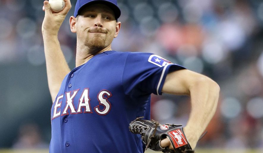 Texas Rangers' Nick Tepesch delivers a pitch against the Houston Astros in the first inning of a baseball game Thursday, Aug. 28, 2014, in Houston. (AP Photo/Pat Sullivan)