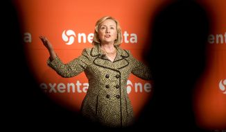 Former Secretary of State Hillary Rodham Clinton speaks at the Nexenta OpenSDx Summit, Thursday, Aug. 28, 2014, in San Francisco. (AP Photo/Noah Berger)