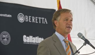 Tennessee Gov. Bill Haslam speaks at the new Beretta facility ground breaking ceremony in Gallatin, Tn. on August 28, 2014. (Washington Times, Martin B. Cherry)
